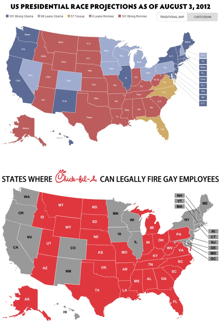 U.S. presidential race as of 8-3-2012 vs. states without LGBT workplace protections