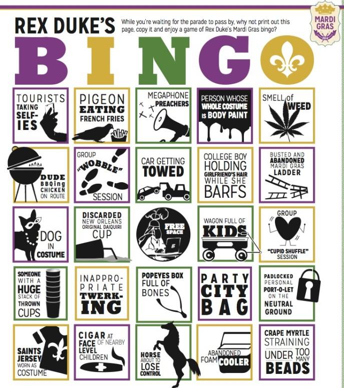 Rex Duke's Mardi Gras Bingo