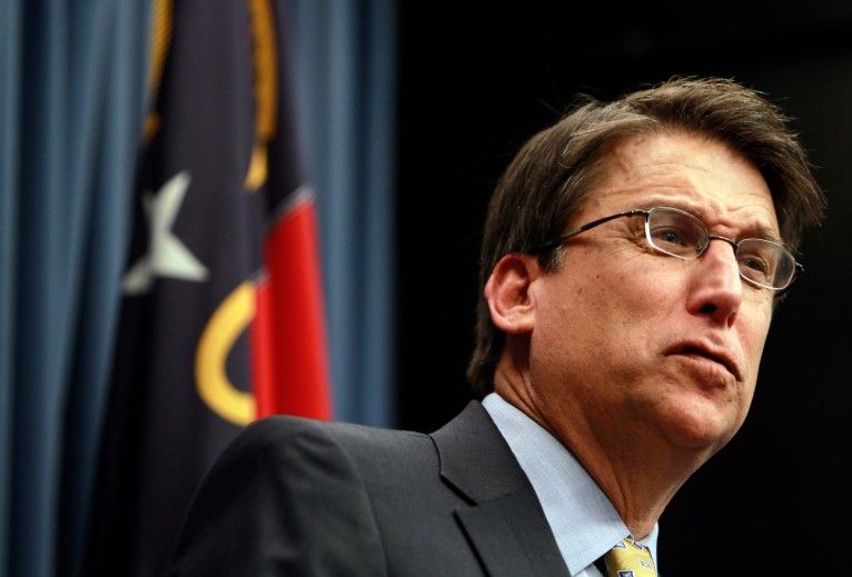 Gov. Pat McCrory holds his first news conference Monday, January 7, 2013, in Raleigh, North Carolina. In one of his first acts as governor, McCrory issued an executive order to repeal the nonpartisan judicial nominating commission established by Perdue. (Takaaki Iwabu/Raleigh News & Observer/MCT via Getty Images)